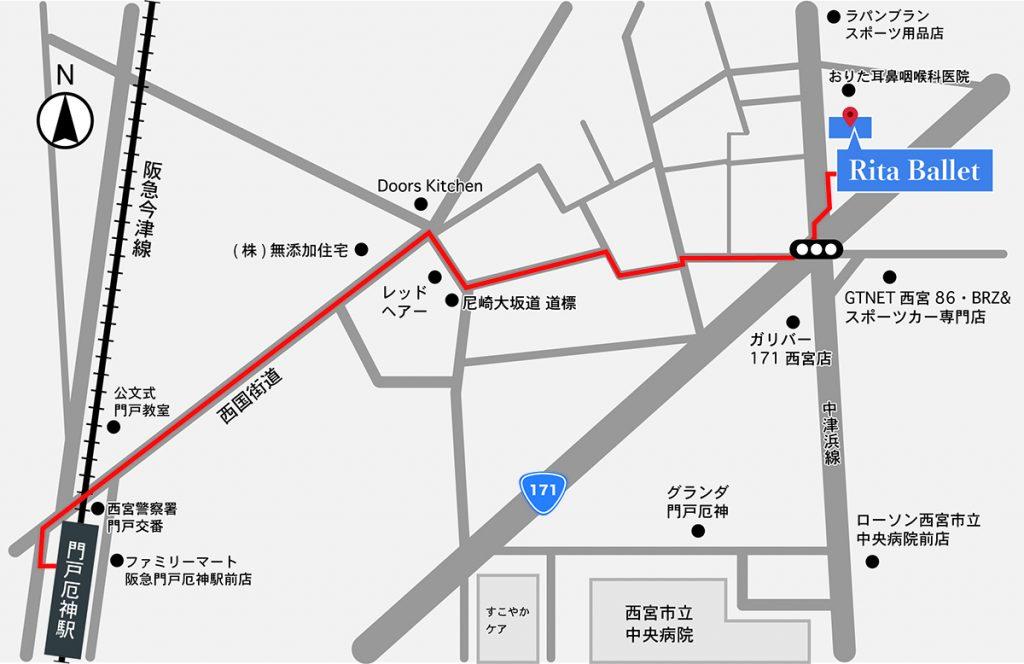 門戸厄神駅からの地図。お車の場合は、中津浜線北側からお越しください。